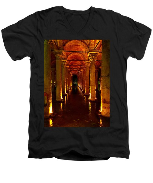 Men's V-Neck T-Shirt featuring the photograph The Most Romantic Place Of Istanbul by Zafer Gurel