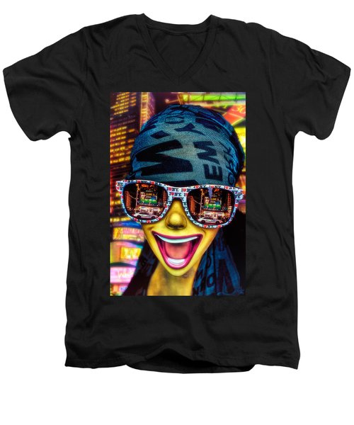 Men's V-Neck T-Shirt featuring the photograph The New York City Tourist by Chris Lord