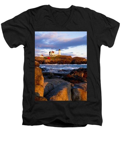 The Nubble Lighthouse Men's V-Neck T-Shirt by Steven Ralser