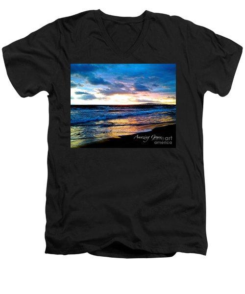 The Ocean Flows With Amazing Grace Men's V-Neck T-Shirt