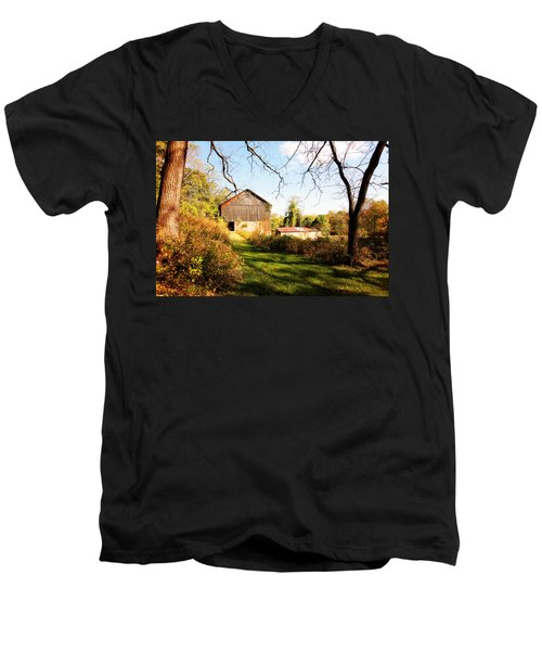 Men's V-Neck T-Shirt featuring the photograph The Old Barn by Trina  Ansel