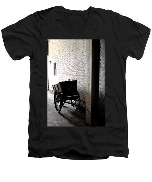 Men's V-Neck T-Shirt featuring the photograph The Old Cart From The Series View Of An Old Railroad by Verana Stark