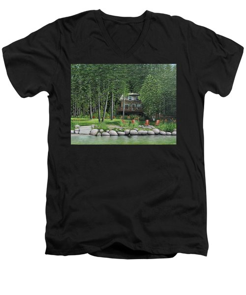 The Old Lawg Caybun On Lake Joe Men's V-Neck T-Shirt by Kenneth M  Kirsch