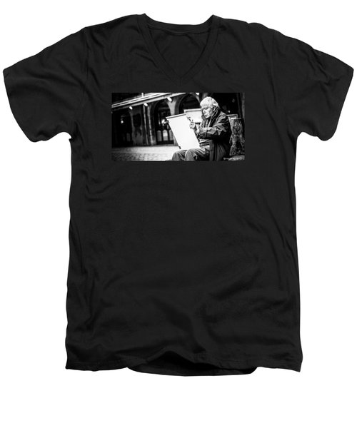 Men's V-Neck T-Shirt featuring the photograph The Old Man Painter II by Stwayne Keubrick
