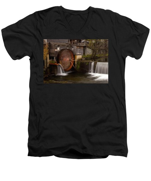 The Old Mill Detail Men's V-Neck T-Shirt by Douglas Stucky
