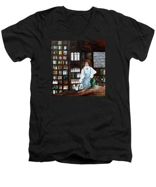 Men's V-Neck T-Shirt featuring the painting The Old Pharmacy ... Medicine In The Making by Eloise Schneider