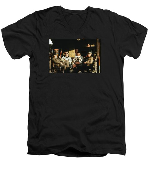 Men's V-Neck T-Shirt featuring the photograph The Over The Hill Gang  Johnny Cash Porch Old Tucson Arizona 1971 by David Lee Guss