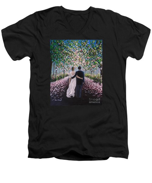 Men's V-Neck T-Shirt featuring the painting The Path Of Love  by Vesna Martinjak