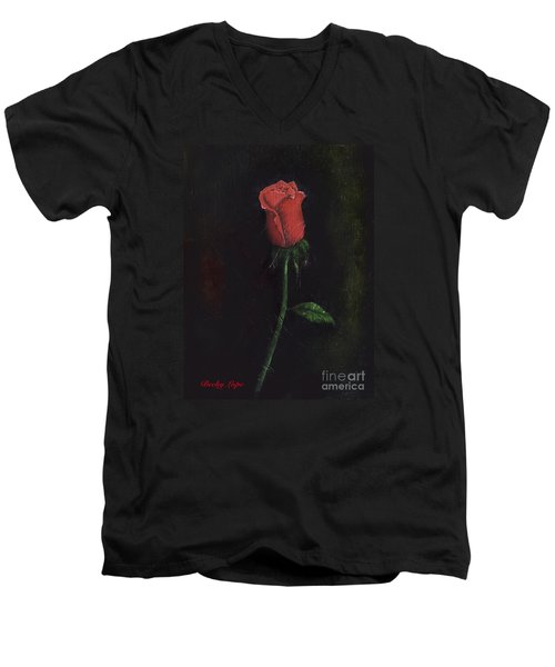 The Perfect Rose Men's V-Neck T-Shirt by Becky Lupe