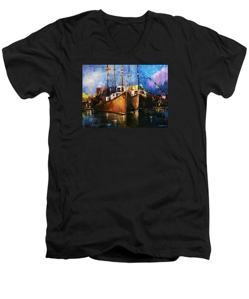 Men's V-Neck T-Shirt featuring the painting The Pier At Sunset by Al Brown