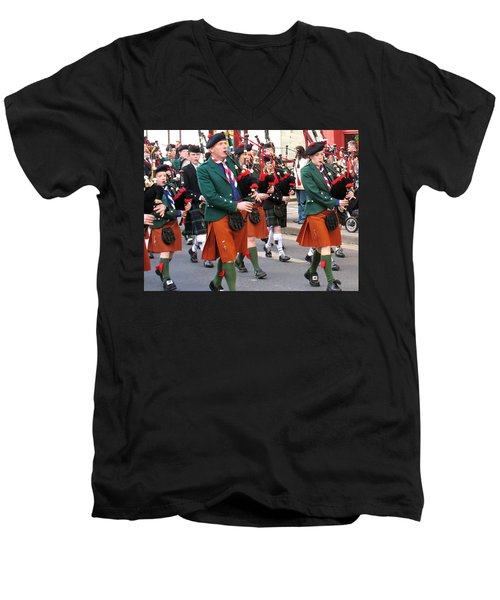 The Pipers Men's V-Neck T-Shirt by Suzanne Oesterling