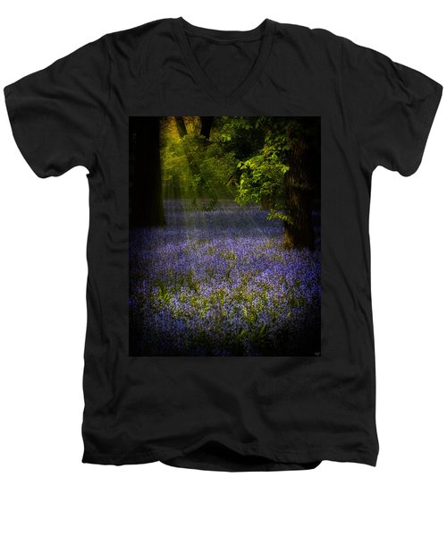 Men's V-Neck T-Shirt featuring the photograph The Pixie's Bluebell Patch by Chris Lord