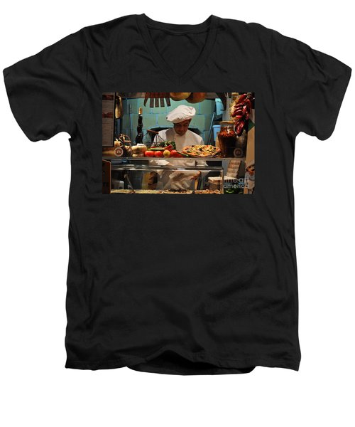 The Pizza Maker Men's V-Neck T-Shirt by Mary Machare