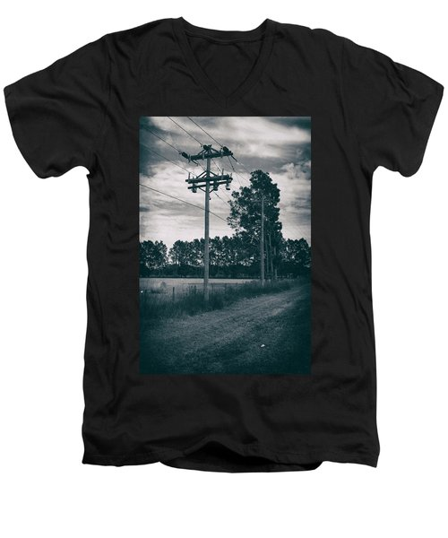 The Power Lines  Men's V-Neck T-Shirt by Howard Salmon