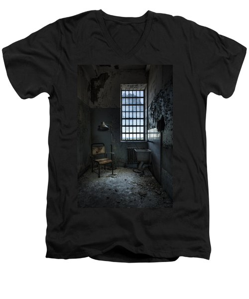 Men's V-Neck T-Shirt featuring the photograph The Private Room - Abandoned Asylum by Gary Heller