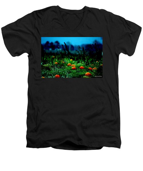 Men's V-Neck T-Shirt featuring the photograph The Pumpkin Patch by Lesa Fine