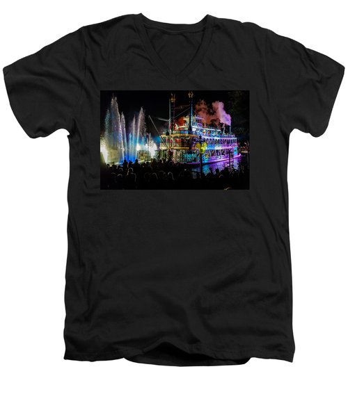The Mark Twain Disneyland Steamboat  Men's V-Neck T-Shirt