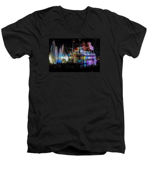 The Mark Twain Disneyland Steamboat  Men's V-Neck T-Shirt