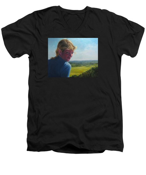 The Question Of A Minor Summit Men's V-Neck T-Shirt by Connie Schaertl