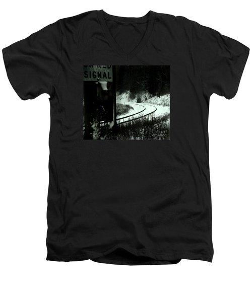 The Rail To Anywhere Men's V-Neck T-Shirt by Linda Shafer