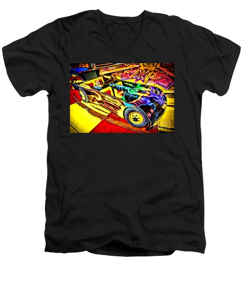 Men's V-Neck T-Shirt featuring the photograph The Real Batmobile by Olivier Le Queinec