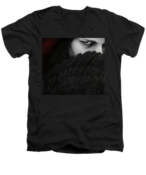 Men's V-Neck T-Shirt featuring the painting The Reckoning by Pat Erickson