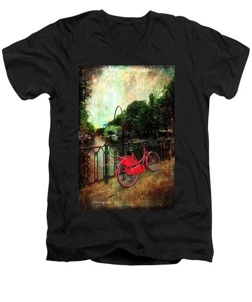 The Red Bicycle Men's V-Neck T-Shirt by Randi Grace Nilsberg