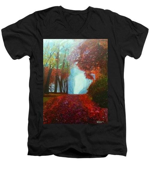 Men's V-Neck T-Shirt featuring the painting The Red Cathedral - A Journey Of Peace And Serenity by Belinda Low