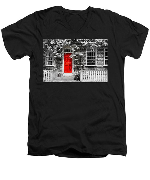 The Red Door Men's V-Neck T-Shirt by Sabine Jacobs