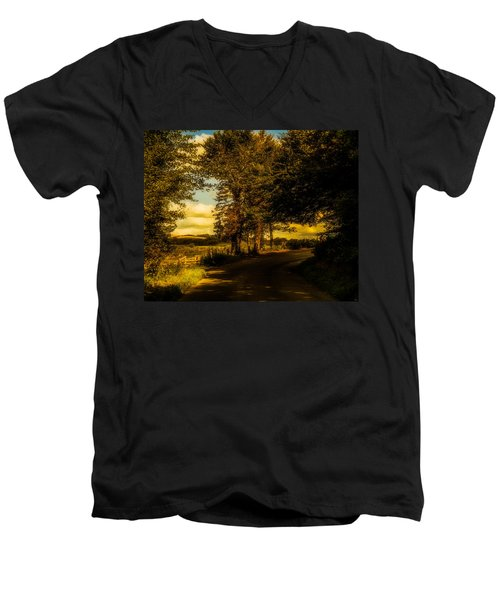 Men's V-Neck T-Shirt featuring the photograph The Road To Litlington by Chris Lord