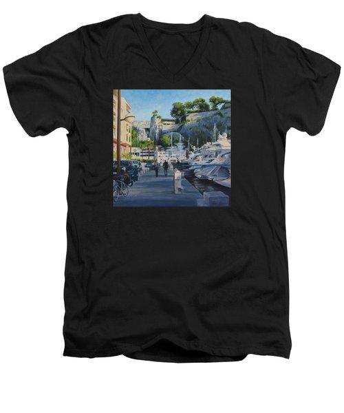 The Rock Ahead Men's V-Neck T-Shirt by Connie Schaertl