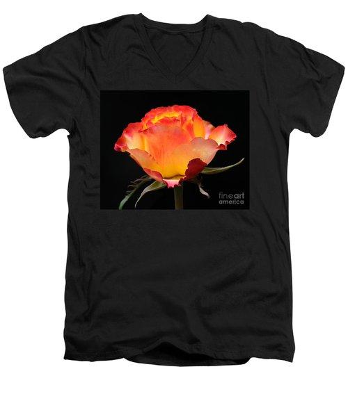 The Rose Men's V-Neck T-Shirt by Vivian Christopher