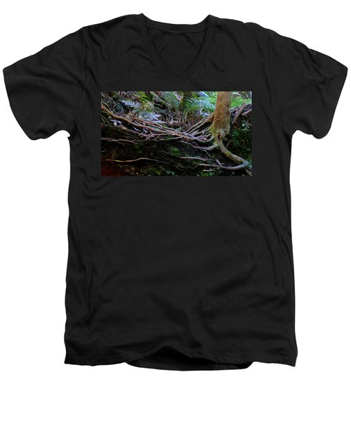Men's V-Neck T-Shirt featuring the photograph The Salamander Tree by Evelyn Tambour