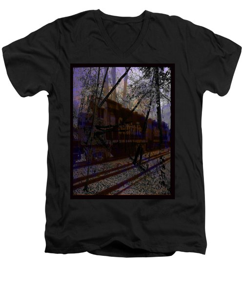 Men's V-Neck T-Shirt featuring the digital art The Santa Fe by Cathy Anderson