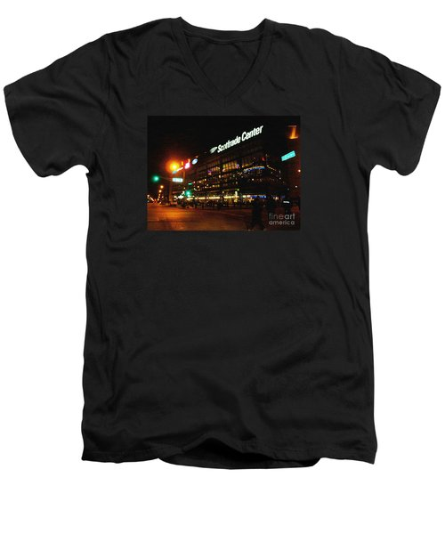 Men's V-Neck T-Shirt featuring the photograph The Scott Trade Center by Kelly Awad