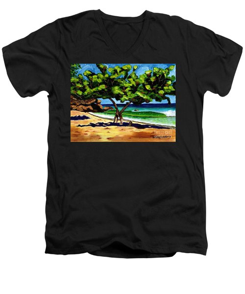 Men's V-Neck T-Shirt featuring the painting The Sea-grape Tree by Laura Forde