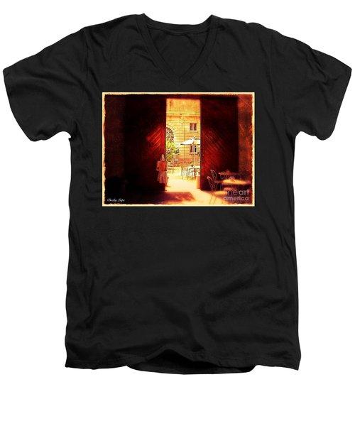 The Secret Courtyard  Men's V-Neck T-Shirt by Becky Lupe