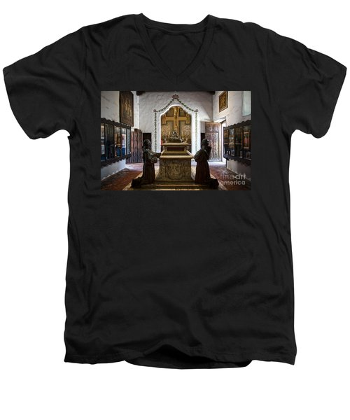 The Serra Cenotaph In Carmel Mission Men's V-Neck T-Shirt
