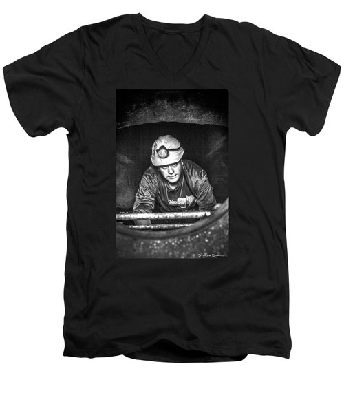 Men's V-Neck T-Shirt featuring the photograph The Sewer Guy by Stwayne Keubrick