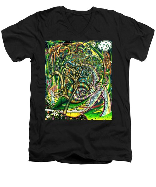 Men's V-Neck T-Shirt featuring the painting The Snail by Shawn Dall