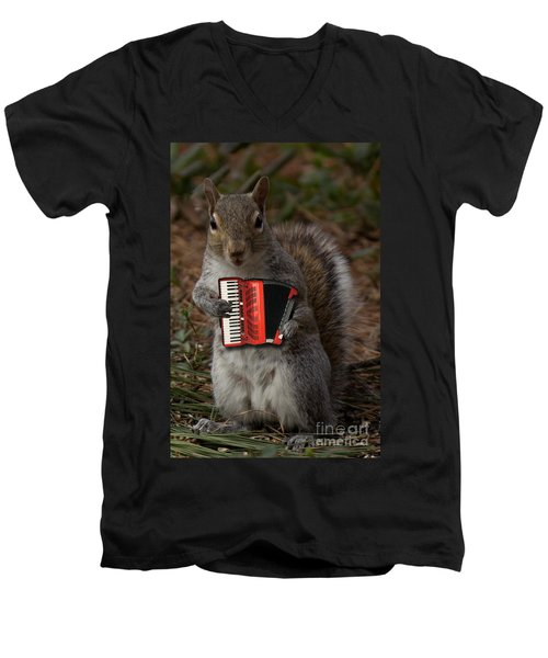 The Squirrel And His Accordion Men's V-Neck T-Shirt