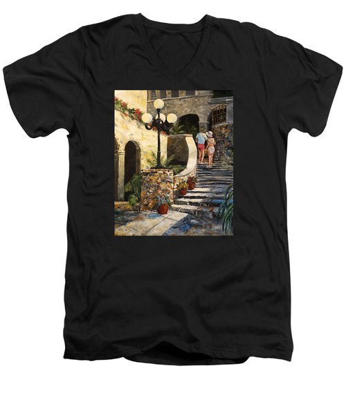 Men's V-Neck T-Shirt featuring the painting The Steps by Alan Lakin
