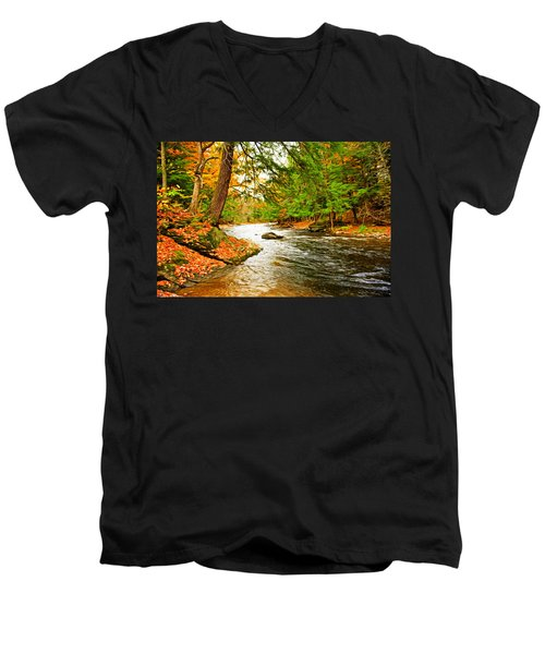 Men's V-Neck T-Shirt featuring the photograph The Stream by Bill Howard
