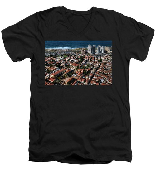 Men's V-Neck T-Shirt featuring the photograph the Tel Aviv charm by Ron Shoshani