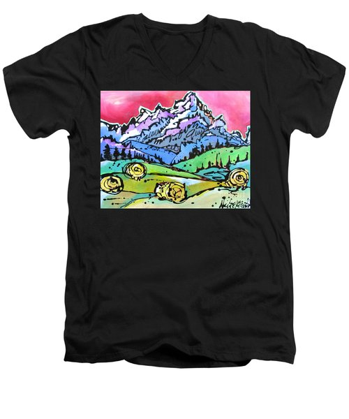 Men's V-Neck T-Shirt featuring the painting The Tetons From Walton Ranch by Nicole Gaitan