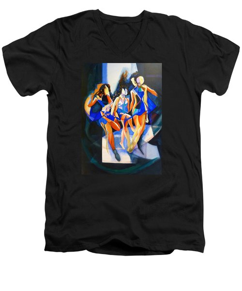Men's V-Neck T-Shirt featuring the painting The Three Graces by Georg Douglas