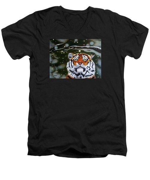 The Tiger In Winter Men's V-Neck T-Shirt