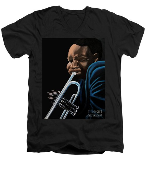 Men's V-Neck T-Shirt featuring the painting The Trumpeter by Barbara McMahon