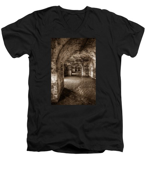 Men's V-Neck T-Shirt featuring the photograph The Tunnels Of Fort Pike by Tim Stanley