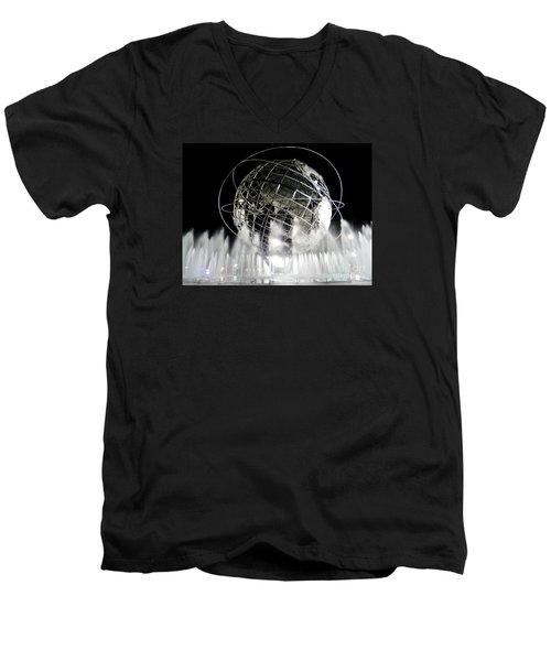 The Unisphere's 50th Anniversary Men's V-Neck T-Shirt by Ed Weidman